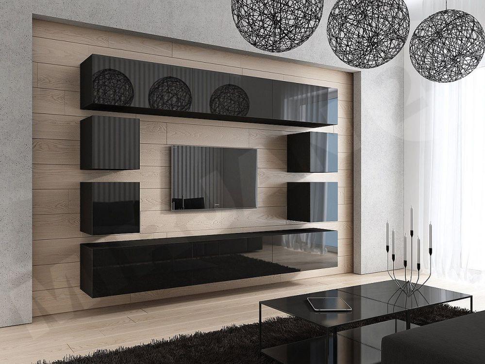 Wohnwand concept 17 design hochglanz schwarz dachmax for Wohnwand holz schwarz