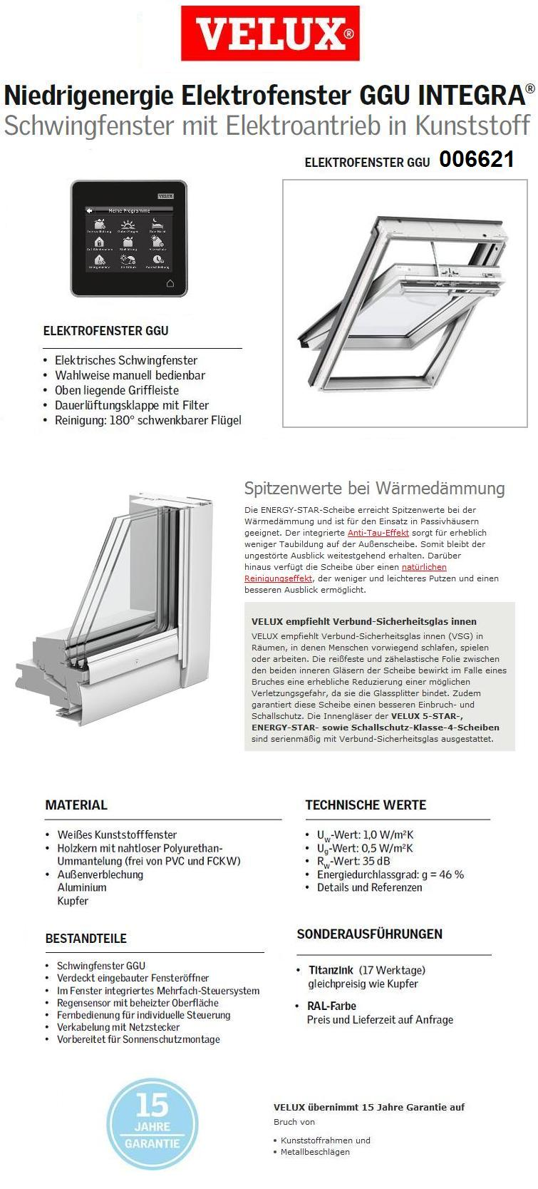 dachfenster velux integra ggu 006621 elektrofenster aus kunststoff energie plus dachmax. Black Bedroom Furniture Sets. Home Design Ideas