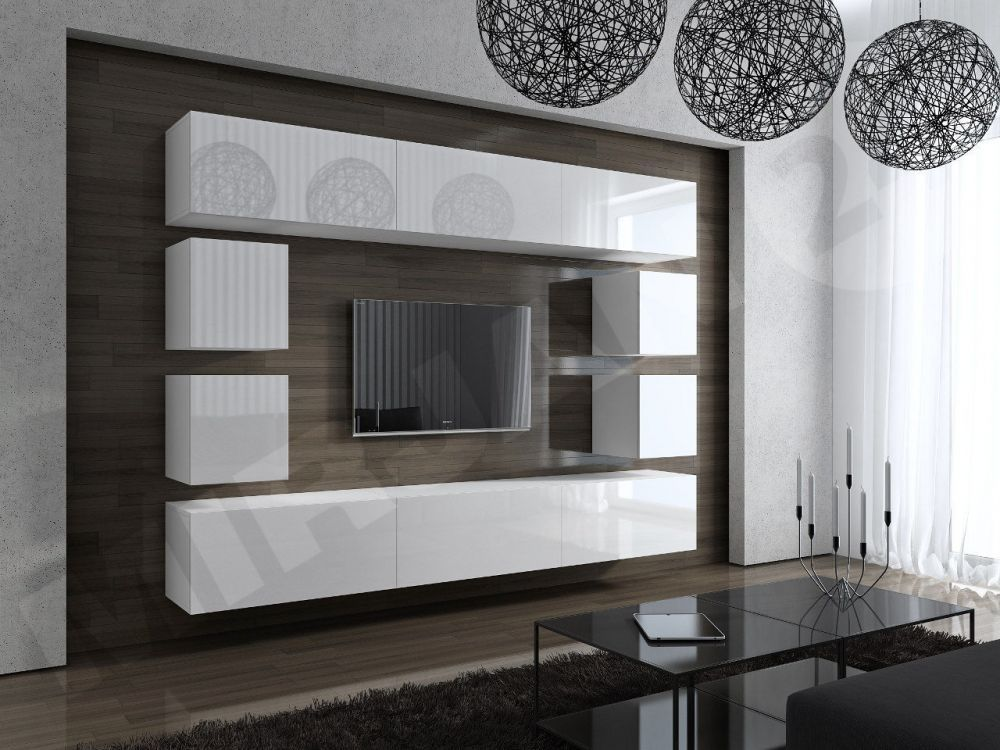 Wohnwand holz weiß  Wohnwand Concept 17 Design Hochglanz weiß DachMax dachfenster shop ...