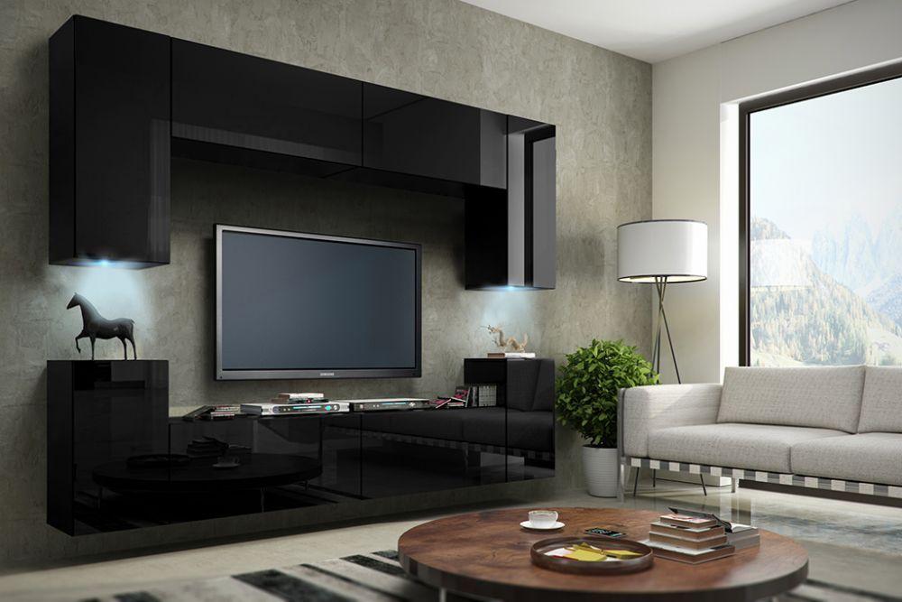 Wohnwand Concept 1 Design Hochglanz Schwarz Dachmax Dachfenster Shop